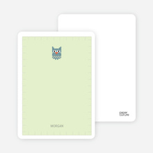 Stationery: 'Quilted Owl' cards. - Light Green