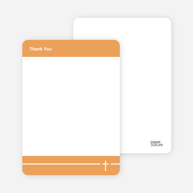 Stationery: 'Simple Cross Baptism' cards. - Orange