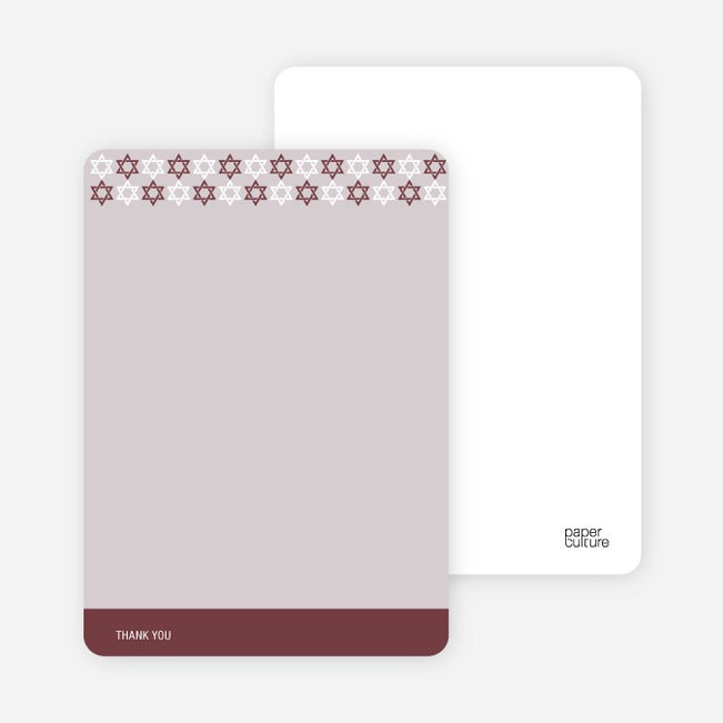 Stationery: 'Star of David Pattern' cards. - Sangria