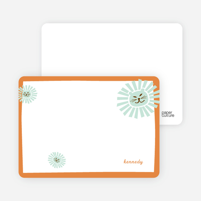 Stationery: 'Your Lion King' cards. - Pumpkin Orange