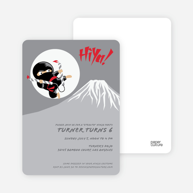 Stealth Ninja Children's Birthday Invitations - Ruby Red