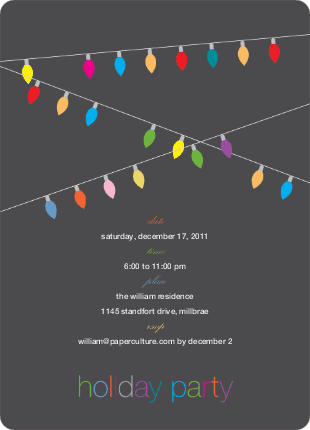 String of Christmas Lights Holiday Party Invitations - Charcoal Grey