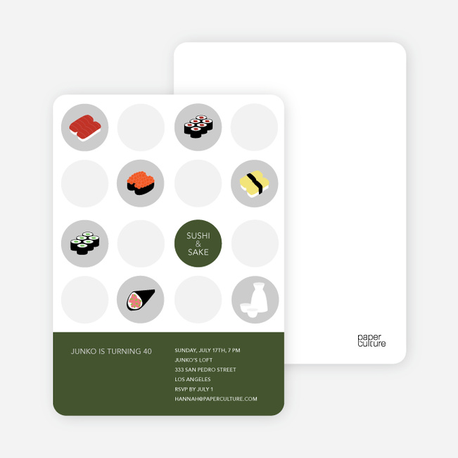 Sushi Celebration Card - Dark Olive