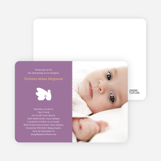 Swan Cross Baptism Photo Card - Purple