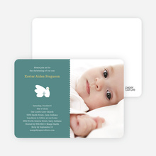 Swan Cross Baptism Photo Card - Greenish Blue