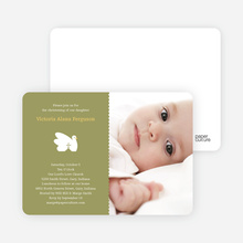 Swan Cross Baptism Photo Card - Olive