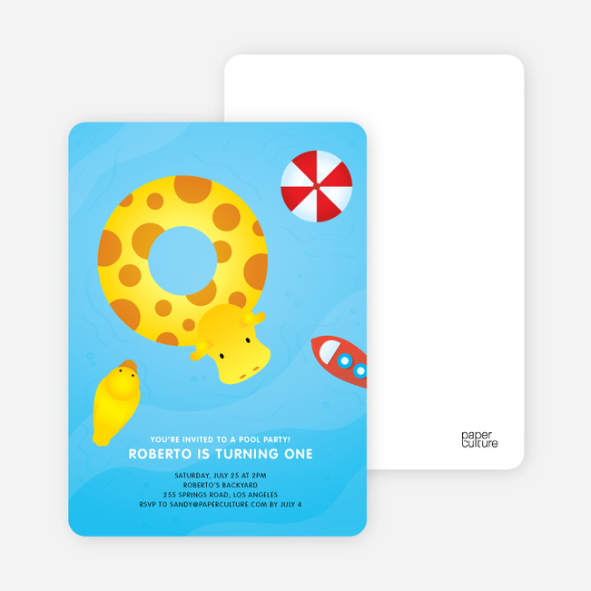 Swimming Pool Themed Birthday Party Invitations - Pool Plunder