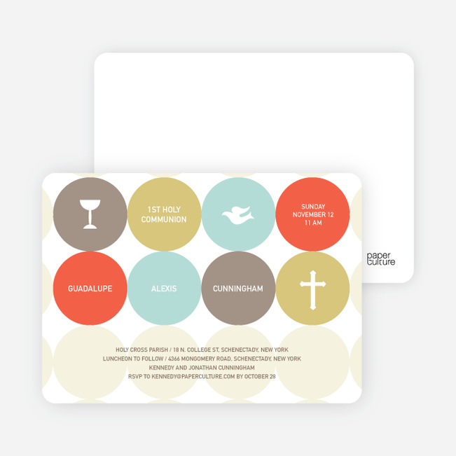 Symbols of Communion Invitations - Tangerine