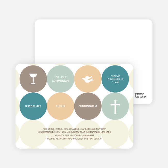 Symbols of Communion Invitations - Teal