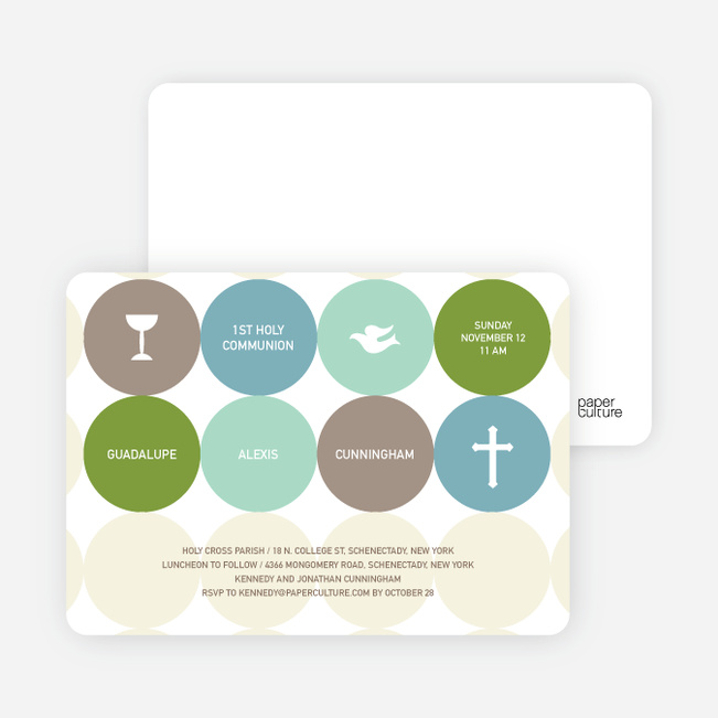 Symbols of Communion Invitations - Lime Green