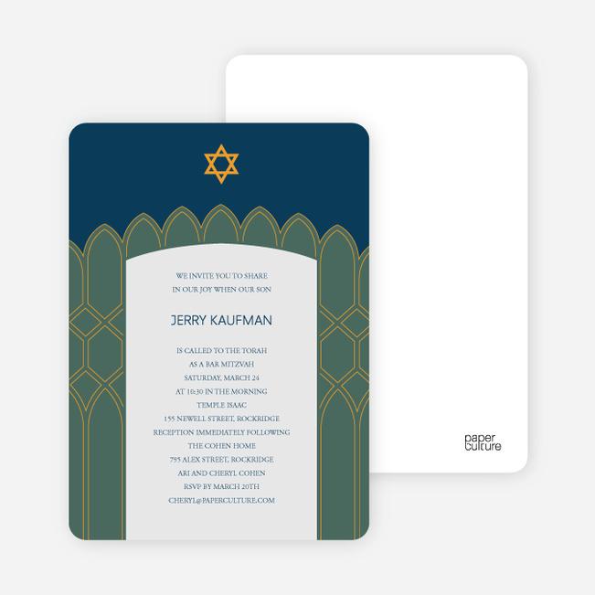 Synagogue Bar and Bat Mitzvah Invitations - Sage Green