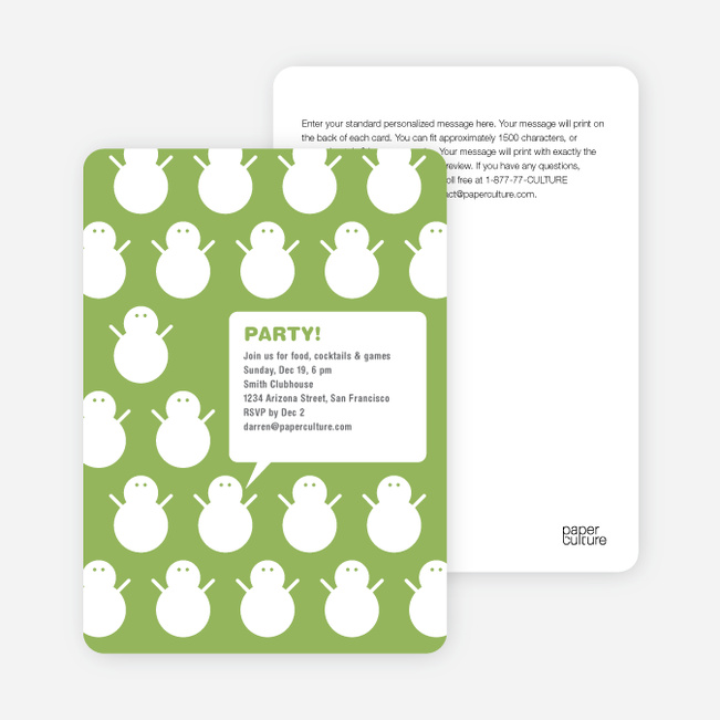 Talking Snowmen Holiday Party Invitations - Absinthe