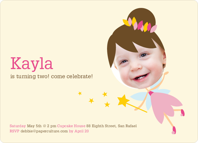 Fairy Princess Birthday Party Invitations - Pink Fairy