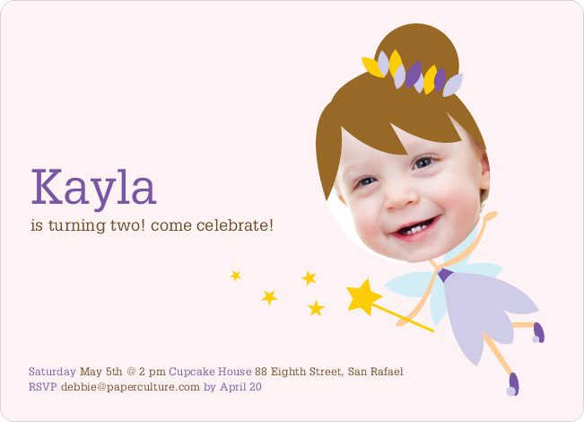 Fairy Princess Birthday Party Invitations - Purple Magic
