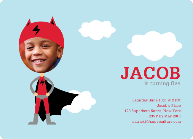 Lightning Man Super Hero Birthday Party Invitations - Cherry