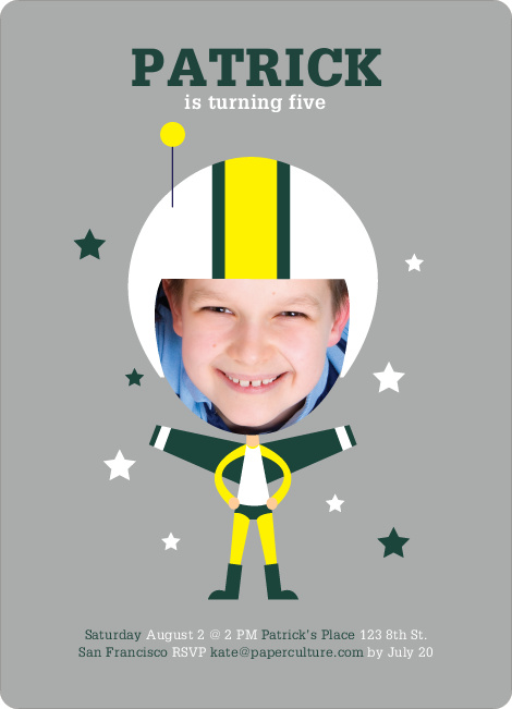 Space Hero Birthday Invitations - Spinach