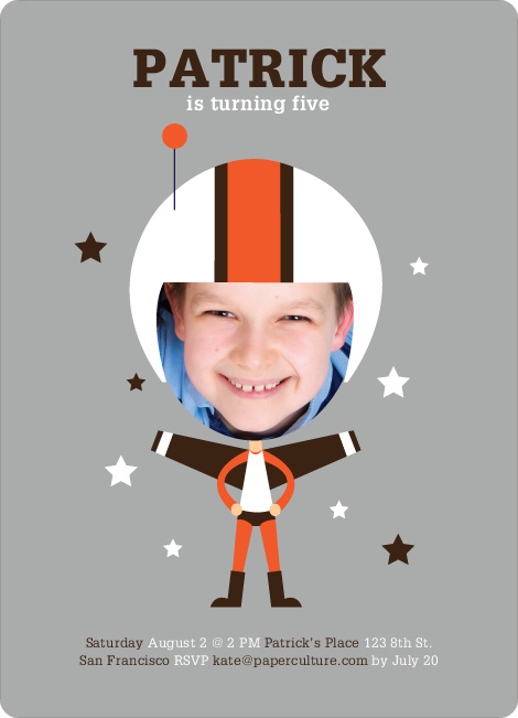 Space Hero Birthday Invitations - Dark Chocolate