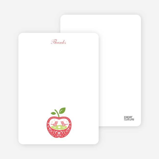 Thank You Card for Appleseed Bird Baby Shower Invitation - Mint Berry Crunch