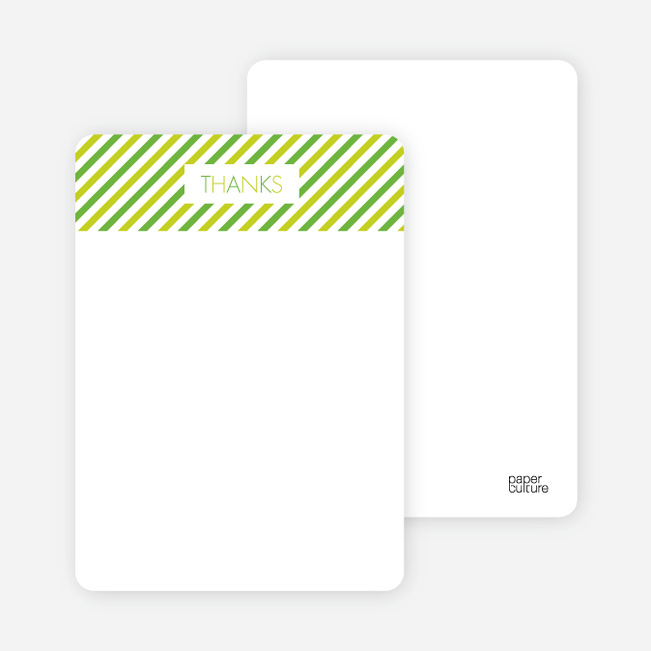 Thank You Card for Diagonal Stripes Modern Baby Announcement - Apple Green