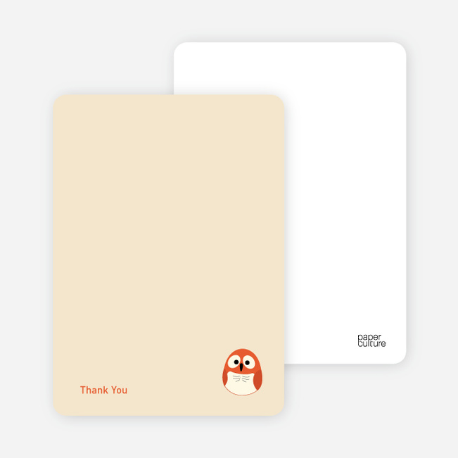 Thank You Card for Owl Baby Shower Invitation - Tangerine