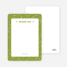 Thank You Card for Sports Mania Party Invitations - Keyline