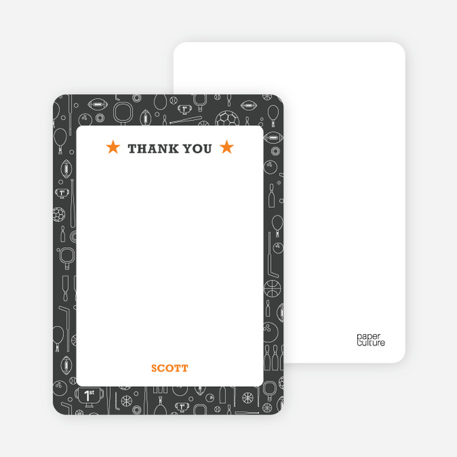 Thank You Card for Sports Mania Party Invitations - Charcoal