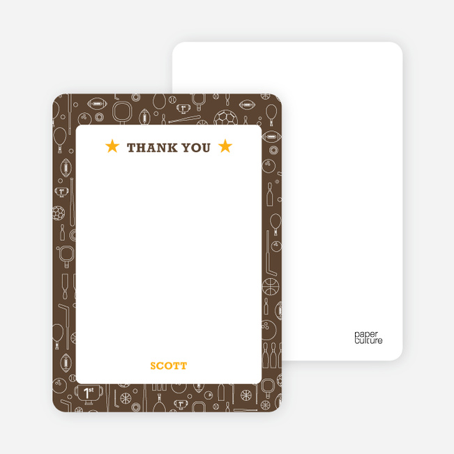 Thank You Card for Sports Mania Party Invitations - Espresso