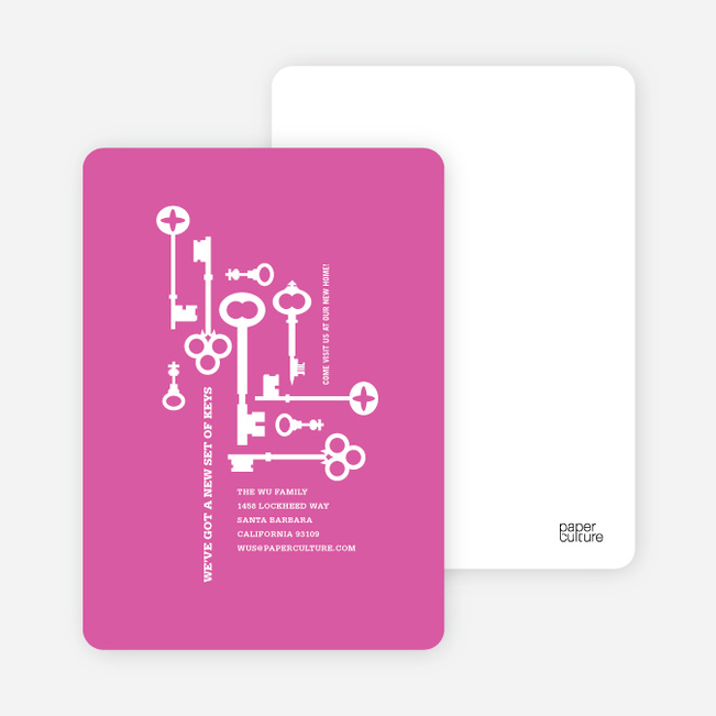 The Keys to Moving: Change of Address Cards - Hot Pink