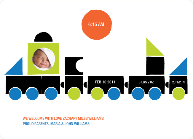 Train Baby Announcement - Dark Grey