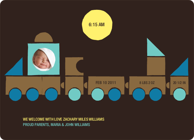 Train Baby Announcement - Burly Wood