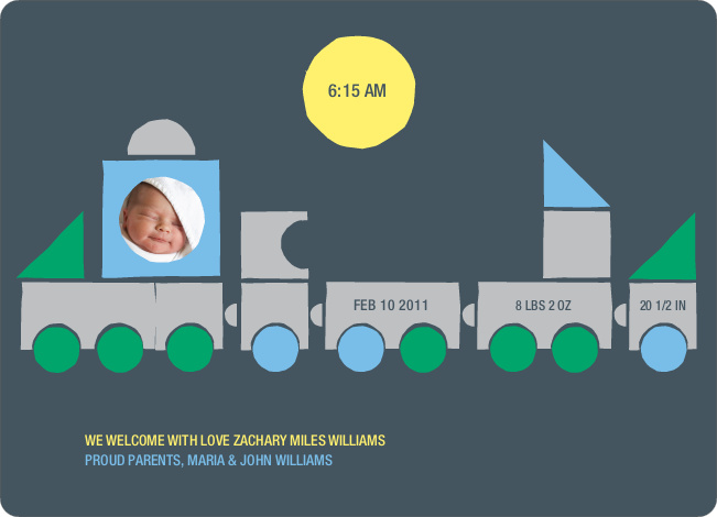 Train Baby Announcement - Green