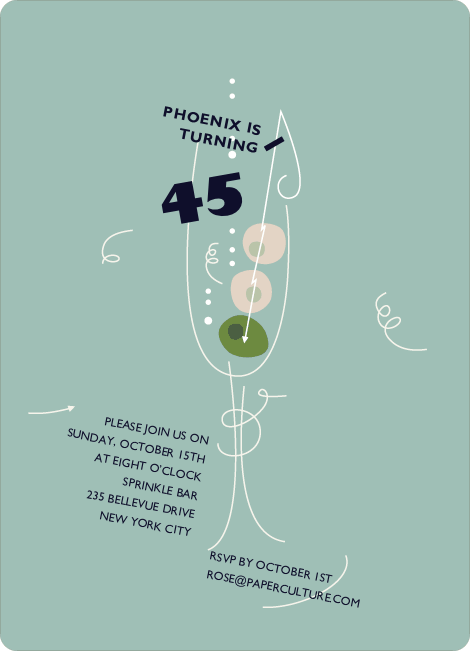 Martini–Themed Party Invitation - Pale Aquamarine