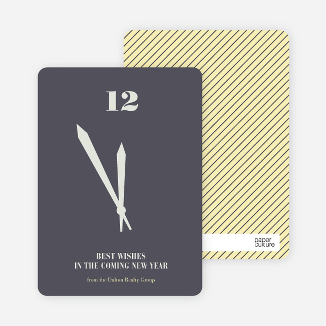 Tick Tock, the Time is Now New Year's Cards - Indigo
