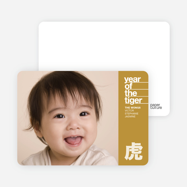 Tiger Character Chinese New Year Photo Cards - Khaki