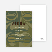 Tiki Carving God of the Party Invitations - Khaki