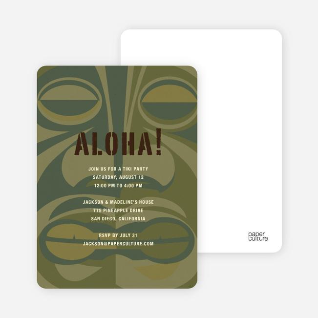 Tiki Carving God of the Party Invitations - Khaki