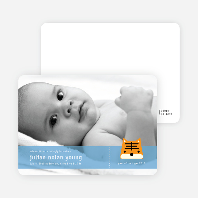 Tony the Tiger Photo Birth Announcements - Periwinkle