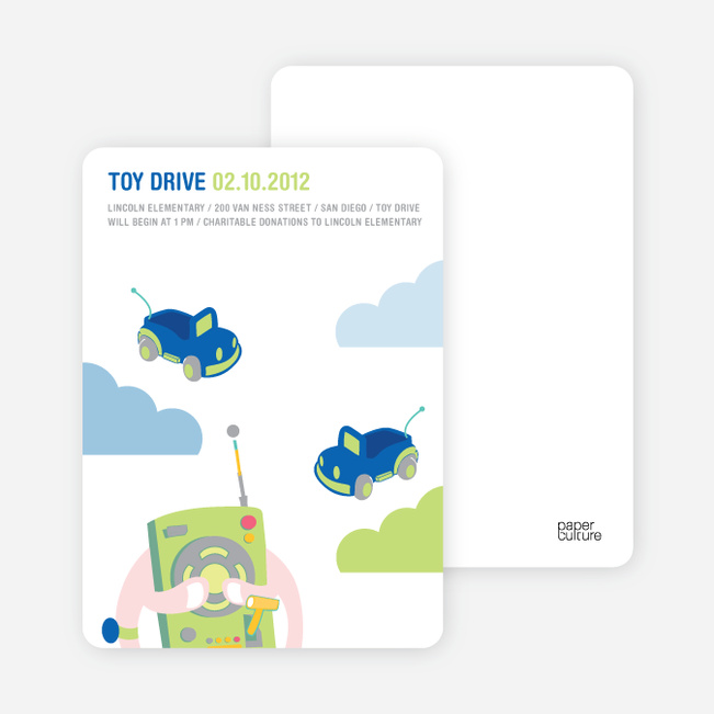 Toy Drive Children's Fundraiser Invitations - Blue Candy