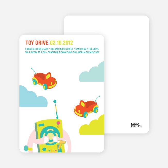 Toy Drive Children's Fundraiser Invitations - Cherry Bomb