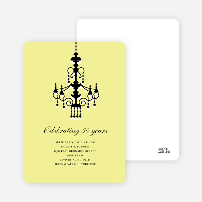 Traditionally Chic, Chandelier Party Invitations - Shaved Lemon