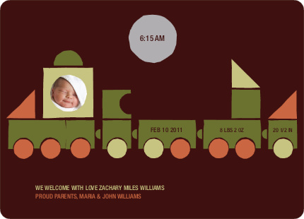 Train Baby Announcement - Burgundy