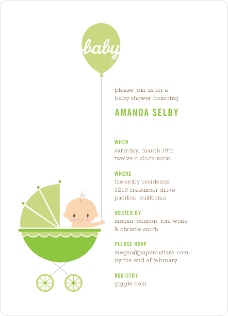 Stroller Peek–A–Boo Baby Shower Invitations - Lettuce