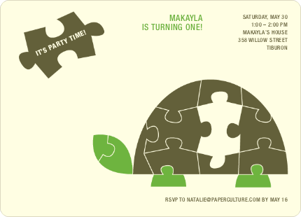 Turtle 1st Birthday Invitation - Mocha