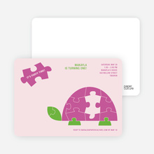Turtle 1st Birthday Invitation - Magenta