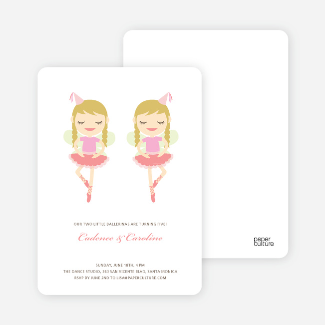 Twin Girl Birthday Invitations - Salmon