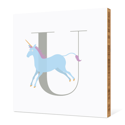 U Unicorn Monogram Bamboo Art - Warm Gray