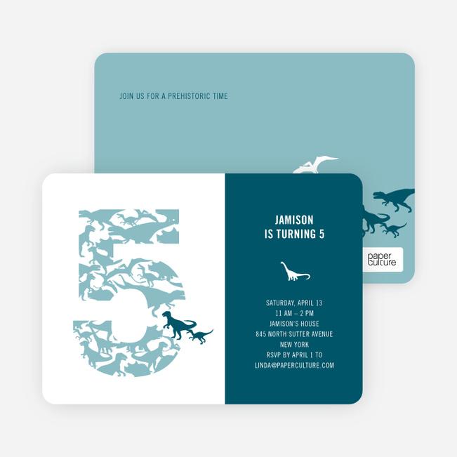 Ultimate Dinosaur Invitation - Baby Blue