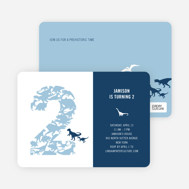 Ultimate Dinosaur Invitation - Turquoise