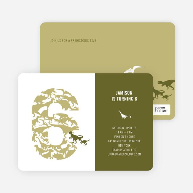 Ultimate Dinosaur Invitation - Khaki