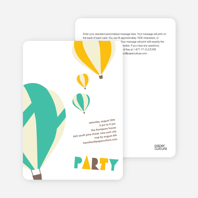 Up Up and Away Summer Party Invitations - Peppermint